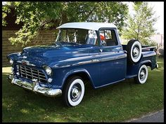 A great denim blue 1956 Chevrolet 3100 pickup truck. #vintage #1950s #cars