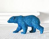 Polar Bear Winter Table Decoration for Weddings, Entertaining, Sapphire Blue Glitter Tablescapes or Baby and Bridal Shower Centerpiece