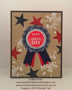 Stampin' in the Sand: Happy Birthday in Red,White,and Blue. Stampin Up Blue Ribbon / Perfect Pennants stamp sets