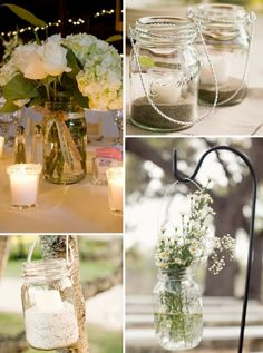 Mason Jars: Outdoor Wedding Decoration. http://memorablewedding.blogspot.com/2014/01/cheap-wedding-decoration-ideas.html