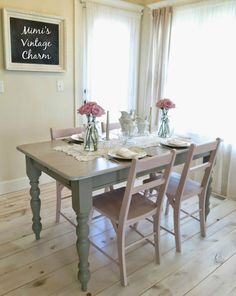 Simple Jars and Antique Cutlery Shabby Chic Dining Room, Shabby Chic Homes, Shabby Chic Decor, Vintage Decor, Vintage Chic, Rustic Wood Furniture, Shabby Chic Furniture, Shabby Chic Centerpieces, Centerpiece Ideas