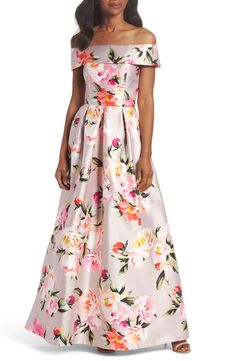 5512a226eab0 Eliza J Floral Off the Shoulder Mikado Gown available at  Nordstrom Floral  Ballgown