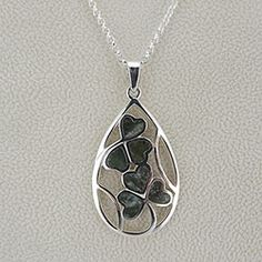 Whether Irish or not, your eyes will twinkle at the sight of two inlaid shamrocks made from genuine, rare Connemara marble. The shamrock is the national symbol of Ireland and is said to bring the luck of the Irish.  1½ʺ sterling silver teardrop pendant. Colors may vary. The sterling silver chain measures 18ʺ.$67.98 http://paradiseinternetmall.net/FAMILY.html