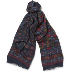 Drake's Printed Wool and Silk-Blend Scarf | MR PORTER