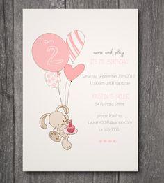 Custom Printable Birthday Invitation Bunny & by Designbykristin, $15.00