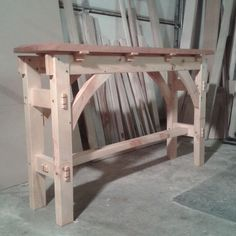 Timber-frame style sofa table