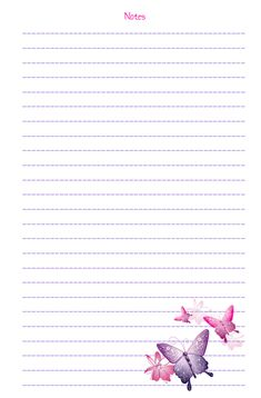 Cute butterfly notes printable