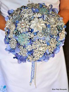 Empress Periwinkle - Blue Petyl Bouquets #wedding #bouquet #jeweled #flower