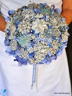 Empress Periwinkle - Blue Petyl Bouquets #wedding #bouquet #jeweled #flower