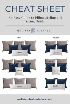 Ornamental Pillows + Pillow Dimension Chart + Mix and Match Pillow Combinations Dream Bedroom, Home Decor Bedroom, Bedroom Wall Decor Above Bed, Diy Bedroom, Master Bedroom Makeover, Master Bedrooms, Master Bedroom Grey, Dark Blue Bedroom Walls, Master Bedroom Interior