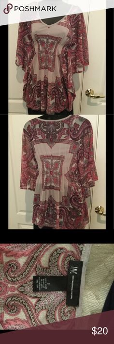 ‼️Price Dropped‼️Inc International Concepts Women blouse gently used, multicolor, flattering, batwing sleeve. Pair this with a capri for the summer. INC International Concepts Tops Blouses
