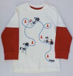 Gymboree Junior Racer Finish Line Bicycle Race Ivory Shirt Sz 2 2T NWT #Gymboree #DressyEveryday