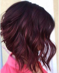 28 Cute & Easy Updos for Long Hair Trends) - Style My Hairs Pelo Color Vino, Hair Color And Cut, Purple Hair, Short Burgundy Hair, Violet Hair, Mi Long, Brunette Hair, Hair Today, Fall Hair