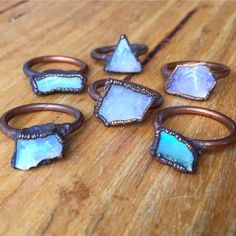 NEW    We now have LARGE Australian Raw Opal and Copper Rings available    These amazing, beautiful and unique, and about twice the size of our Australian Raw Opal and Copper Ring    www.indieandharper.com Indie And Harper, Raw Opal, Copper Rings, Druzy Ring, Gems, Jewellery, Boho, My Style, Amazing