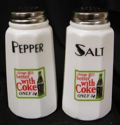 Coca Cola Milk Glass Paneled Salt & Pepper shakers