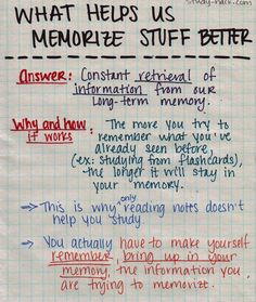 The reason why flashcards are a great way to memorize concepts and terms is because when you study with them, you make your brain work hard to retrieve information from your memory.The more you do this, the better it stays in your long-term memory. This is also the reason why simply reading over your notes a thousand times won't help you study. Because you're not working hard to retrieve any information, the info is not consolidated in long-term memory and stays in your working memory (5 sec...