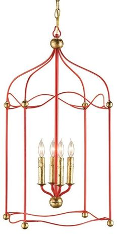 Carousel Lantern | Currey and Company love this - wish it was a more coral red. maybe I can find something similar and paint it?