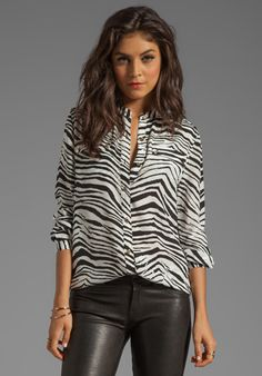 Juicy Couture Boho Shirting Print Blouse in Zebra