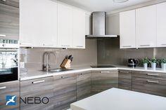 Grey Wood Grain & White Kitchen Cabinets
