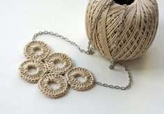 Quintette Necklace Neutral cotton circle crochet necklace AOD natural whimsy Olympic circles casual active spring summer therougett efpteam
