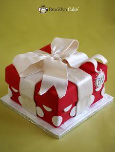 Red Gift Box Cake - Brooklyn Cake