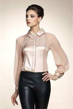 Silk blouse with polka dot sheer chiffon sleeves Blouse Styles, Blouse Designs, Satin Bluse, Beautiful Blouses, Blouse Dress, Grey Blouse, Mode Inspiration, Fashion Outfits, Womens Fashion