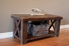Rustic barn wood coffee table by Tom Spivak