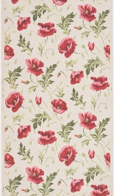 Sidewall paper with design of bright pink poppy flowers. 1875–1925