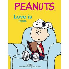 Love is... Snoopy lays on Charlie Brown's head like Chloe lays on my head in the recliner! :-) Debby