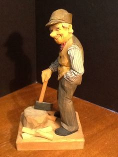 HERMAN ROSELL 1958 carving WOODCUTTER W/ AXE Wood Carving Carved Figure Signed #folkart #HermanRosell
