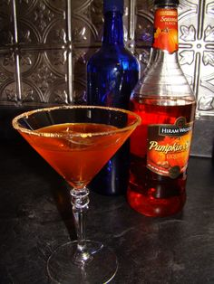 """""""The Pumpkin-tini"""" *1 part Vodka (plain or vanilla) *1 part Pumpkin spice liqueur (I have Hiram Walker) Cinnamon sugar the rim of martini glass, if desired. Combine ingredients in a shaker with ice. Shake your heart out, strain and serve."""