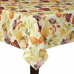 Autumn Gaze Fall Leaves Fabric Tablecloth 60 x 144 Rectangle/Oblong