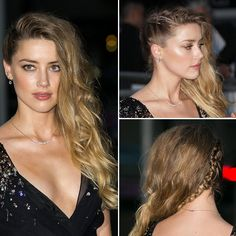 Loved Amber Heard's hair at the Miu Miu Resort 2016 collection in Paris! She rocked undone waves and a side-braid combo hairstyle.
