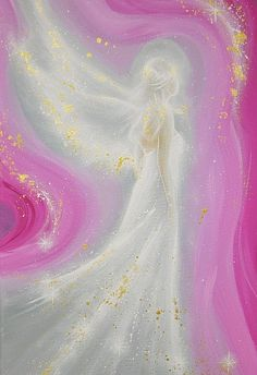 """Limited angel art poster : """"always at your side"""" , modern contemporary angel painting, artwork, print, glossy photo,"""
