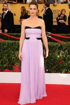 Amanda Peet Stands Out In Pastel At The Screen Actors Guild Awards, 2015