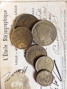 Vintage French Flea Market Coins Set 1 by OscarNaylor on Etsy, $11.00