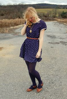 blue polka dot dress with brogues