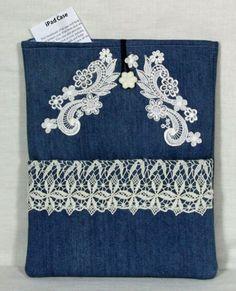Denim and Lace iPad cover, IPad Sleeve, iPad case, handmade iPad case designer fabrics Ready to Ship