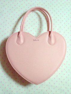 pastel pink heart shaped purse
