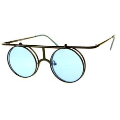 Steampunk Retro Style Flip Up Lens Metal Round Sunglasses R2530