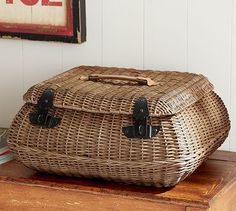 Jacquelyne Curved Lidded Basket #potterybarn. Just what I have been looking for as a sewing basket!
