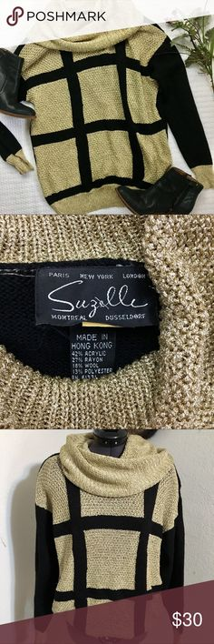 Vintage Suzelle Oversized sweater This cool sweater from the 80s is still in great condition! It's metallic gold knit with black. It even comes with shoulder pads (don't worry, they're removable!😂)! It's oversized so it says small but it would fit a Medium just fine. Suzelle Sweaters Cowl & Turtlenecks