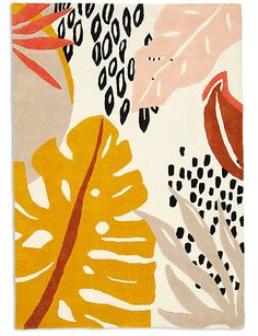 Buy the Abstract Leaf Wool Rug from Marks and Spencer's range. Cute Wallpapers, Wallpaper Backgrounds, Yellow Aesthetic Pastel, Black Phone Wallpaper, Embroidered Cushions, Plant Art, Photo Wall Collage, Abstract Watercolor, Pattern Wallpaper