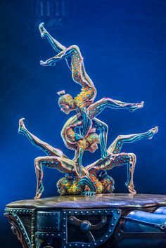 "Contortionists from Cirque du Soleil's ""Kurios: Cabinet of Curiosities,"" written and directed by Michel Laprise, runs through Sept 20 at the United Center. (photo credit: Martin Girard)"