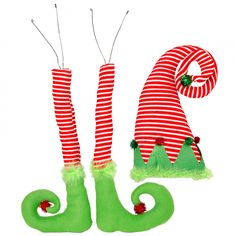 A set of three Elf decorations complete with two legs and elf hat. Two plush striped elf legs with lime green marabou feather fur cuffs are long. Elf hat is tall. Elegant Christmas Decor, Christmas Table Decorations, Christmas Mantels, Diy Christmas Ornaments, Christmas Ideas, Christmas 2016, Christmas Candy, Christmas Tree, Halloween Deco Mesh