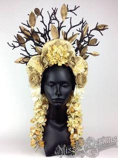 Golden floral headdress, Miss G Designs