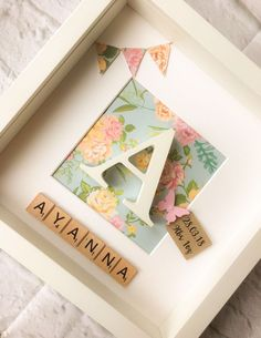 New Baby Gift Personalised Box Frame Christening Keepsake Gift for her Pink Blue Floral Baby Nursery Initial Picture Butterfly Diy Baby Gifts, Baby Shower Gifts, Gift For Baby Girl, Homemade Baby Gifts, Baby Gifts For Girls, Creative Baby Gifts, Keepsake Baby Gifts, Baby Gift Box, Baby Decor