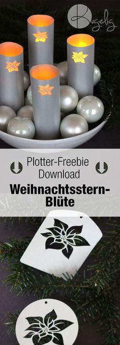 Plotter-Freebie Weihnachtsstern-Blüte | Windlicht, Geschenkanhänger, Adventskranz | Silhouette DXF, SVG | kugelig.com