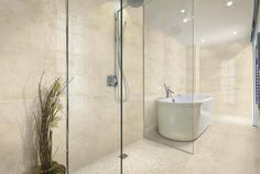 Concrete look, Italian Porcelain, Wall & Floor Tile DF5 DT Ecru  Modern Contemporary Bathrooms ...