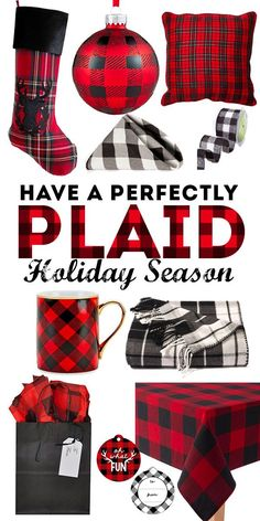 Cute ways to add some plaid to your Christmas decorations. I'm obsessed with buffalo check plaid this holiday!